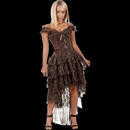 Ophelie Brown Brocade Corset Dress