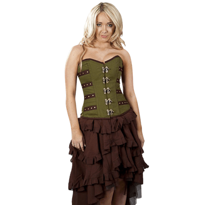 Olive Twill Overbust Corset