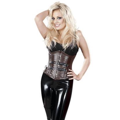 Bernia Brown Leather Underbust Corset