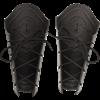 Studded Chevron Leather Bracers - Black