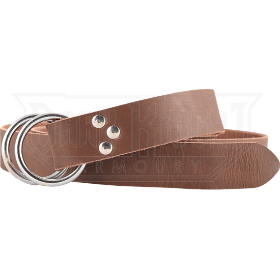 Double Ring Leather Belt - Brown