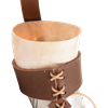 Carved Leaves Drinking Horn with Holder