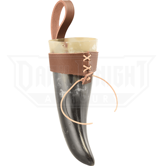 Small Norse Drinking Horn with Leather Holder