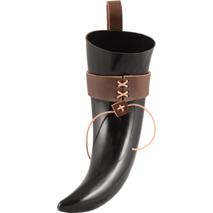 Halfdan Norse Drinking Horn with Leather Holder