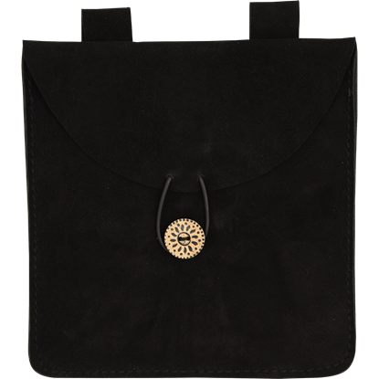 Large Black Suede Pouch