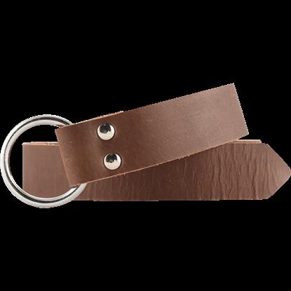 Leather Medieval Ring Belt - Brown