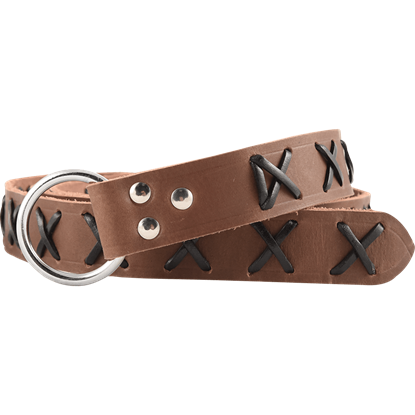 Laced Leather Ring Belt - Brown with Black