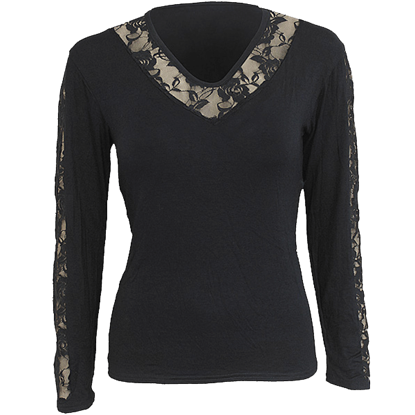 Gothic Laced V-Neck Womens Shirt