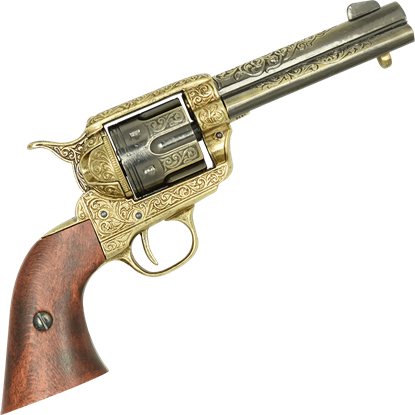 .45 Army Revolver Engraved Brass