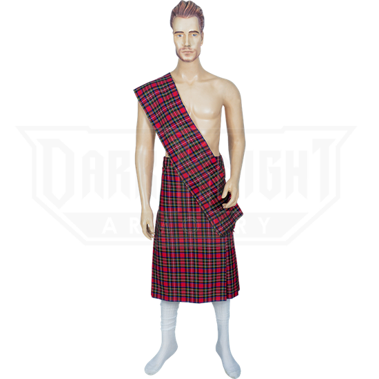 Men's Scottish Kilt with Scarf - Red, X-Large