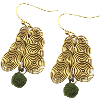 Golden Swirls Norse Bead Earrings