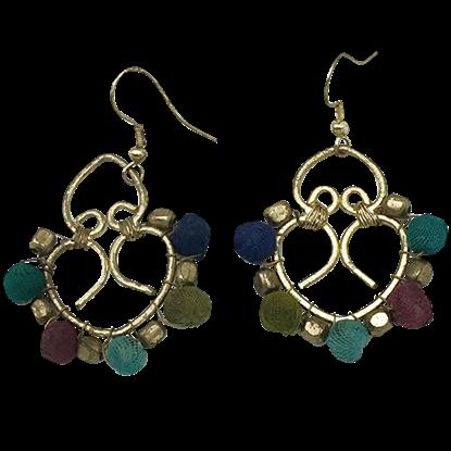 Viking Hearts Cloth Beaded Earrings