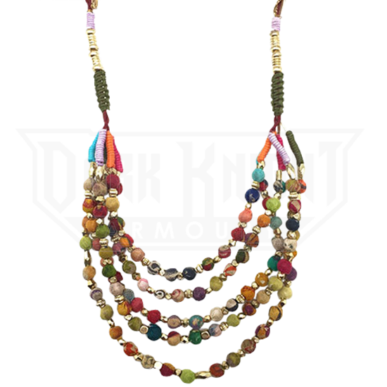 Cloth Beaded Layered Norse Necklace