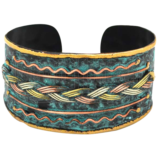 Brass and Copper Braid Cuff Bracelet with Patina