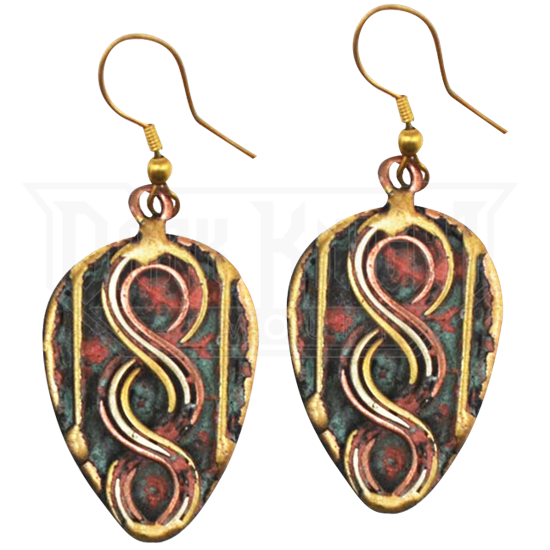 Brass and Copper Twist Earrings with Patina