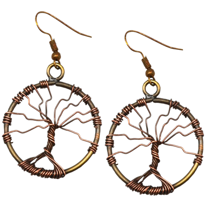 Antique Brass Wire Art Tree of Life Earrings