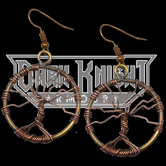 Antique Brass Wire Art Tree of Life Earrings