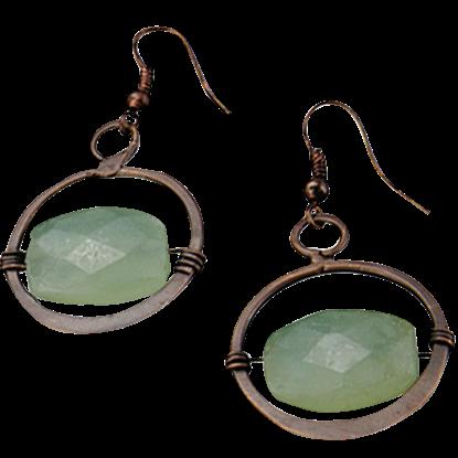 Green Aventurine Antique Brass Earrings