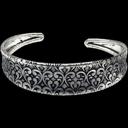 Antique Silver Damask Cuff Bracelet