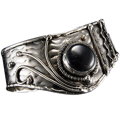 Antique Silver Black Onyx Cuff Bracelet