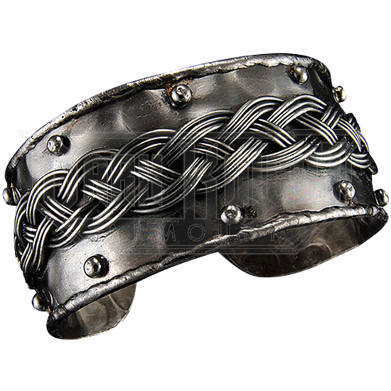 Braid and Stud Antique Silver Cuff Bracelet