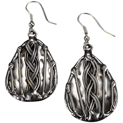 Braid Teardrop Antique Silver Earrings