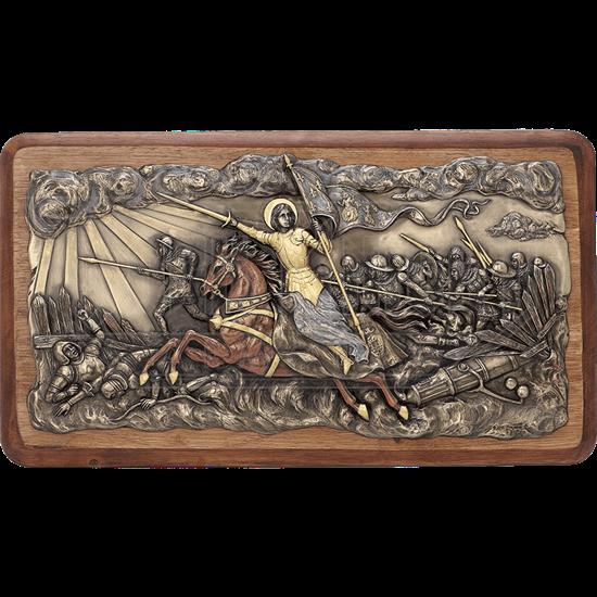 Bronze Joan of Arc Into Battle Wall Plaque