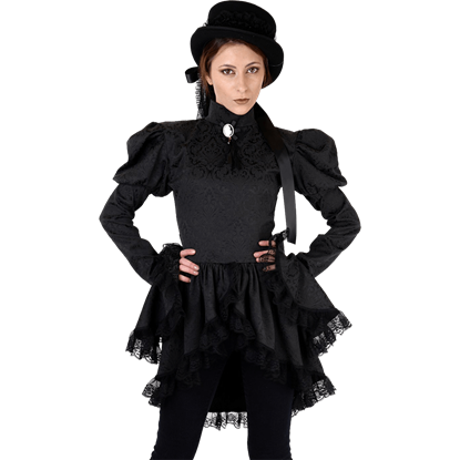 Black Brocade Gothic Tailcoat Blouse