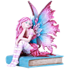 Pink and Blue Book Fairy Statue