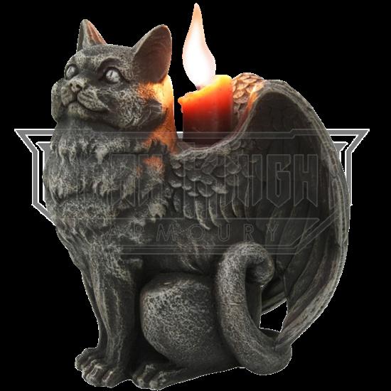 Left-Facing Angel Cat Candle Holder