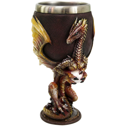 Red and Gold Dragon with Egg Goblet