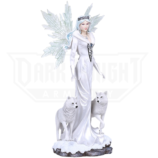 Winter Queen Fairy with Wolves Statue