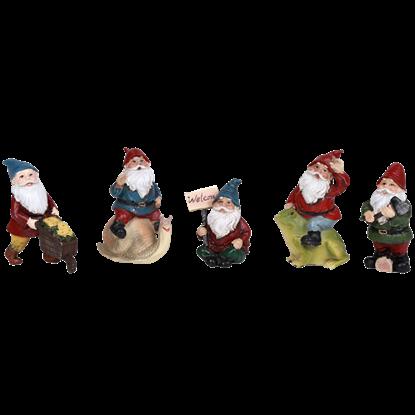 Set of 5 Mini Gnome Statues