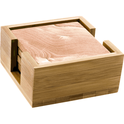 Bamboo Wood Square Coaster Holder