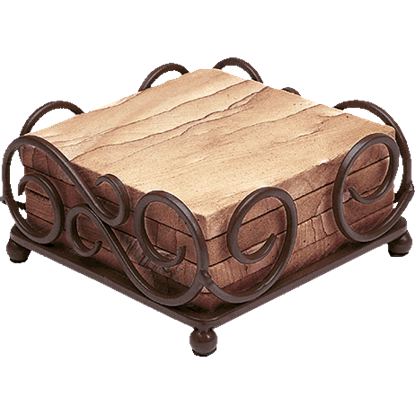 Wrought Iron Scroll Square Coaster Holder