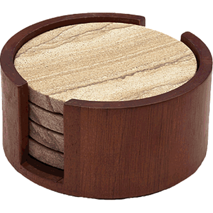 Cherry Wood Round Coaster Holder