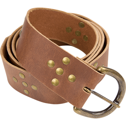 Brass Stud Medieval Cross Belt - Brown
