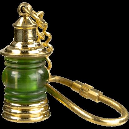 Brass Lantern Keychain - Green