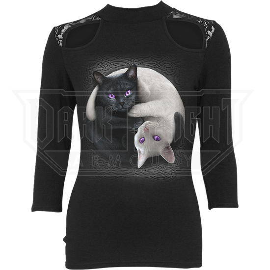 Yin Yang Cats Lace Shoulder Top