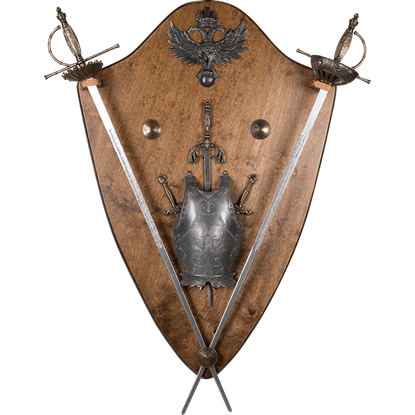 Medieval Display Plaque with Miniature Swords and Armour