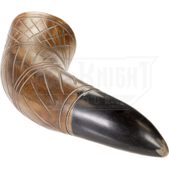 Alfheim Carved Drinking Horn with Stand
