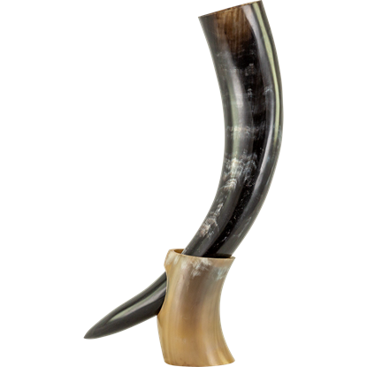 Viking Drinking Horn with Horn Stand