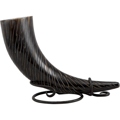 Skadi Carved Drinking Horn with Stand