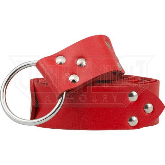 Fighters Leather Ring Belt - Red