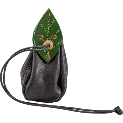 Elven Leaf Leather Pouch - Black
