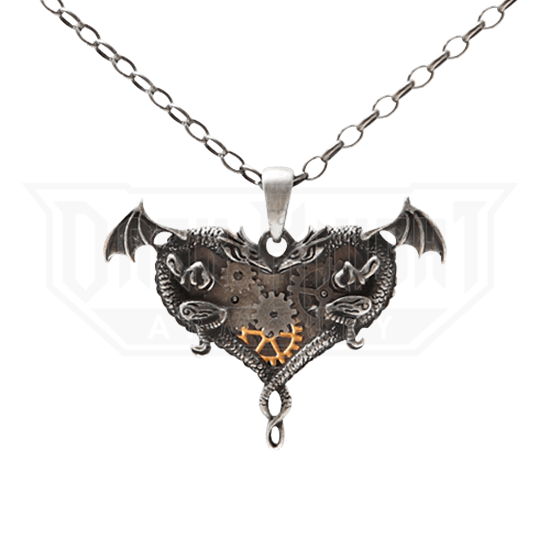 Dual Dragon Heart Steampunk Necklace