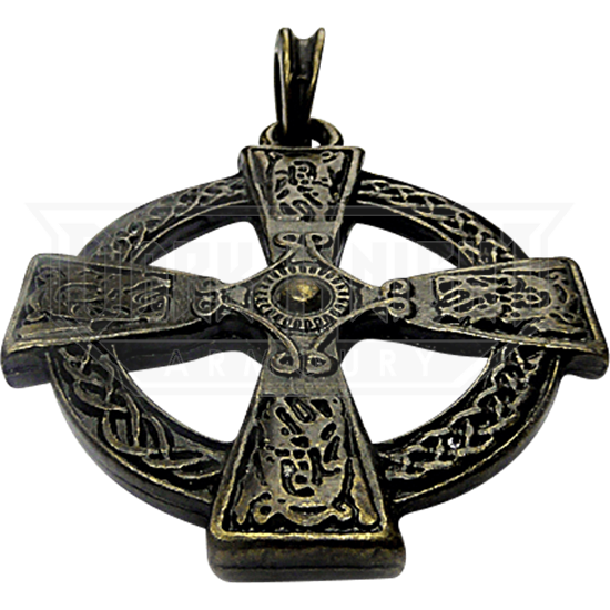 Celtic Cross with Knotwork Pendant - Antique Brass Finish