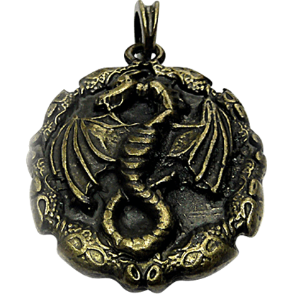Dragon Amulet Pendant - Antique Brass Finish