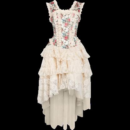 Victorian Velvet Floral Corset Dress