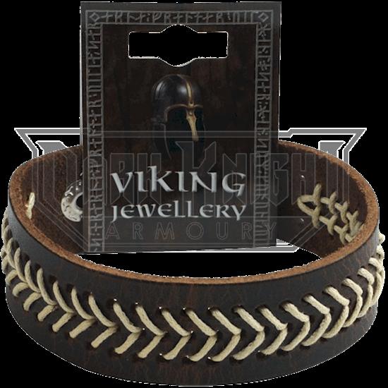 Viking Stitched Leather Stud Bracelet